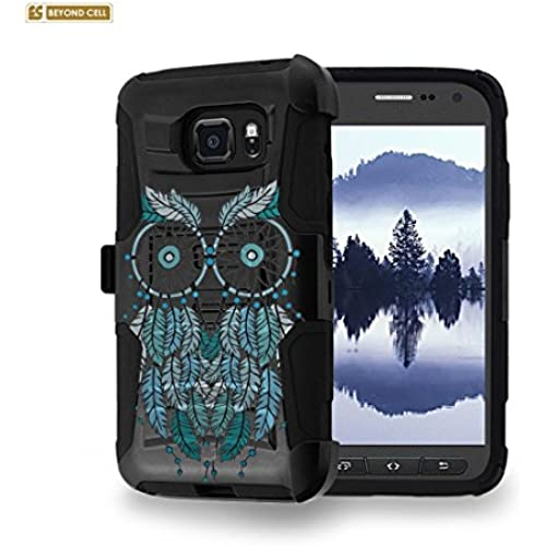 Beyond Cell [Galaxy S7 Active] Case, SM-G891A, Durable High Impact Hard+Soft Hybrid Rugged Case Built in Kickstand & Belt Clip Holster-Blue Owl Dream Catcher Sales