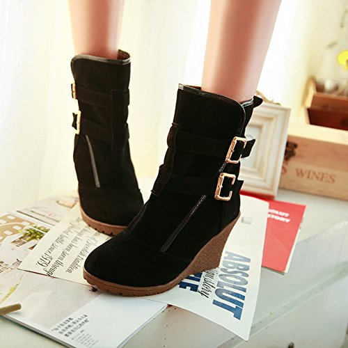 with Black Ankle Buckle fleece Fashion fereshte Lining Boots Heels Women's Wedges wF8qTpY