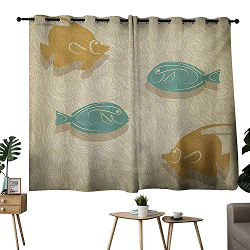 NUOMANAN Blackout Curtain Panels Window Draperies Fish and Wave Orange Sand Brown Seafoam Living Room and Bedroom Multicolor Printed Curtain Sets 52