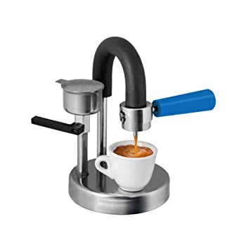 Kamira versión de colores azul claro, el espresso cremoso italiano en el hornillo de tu