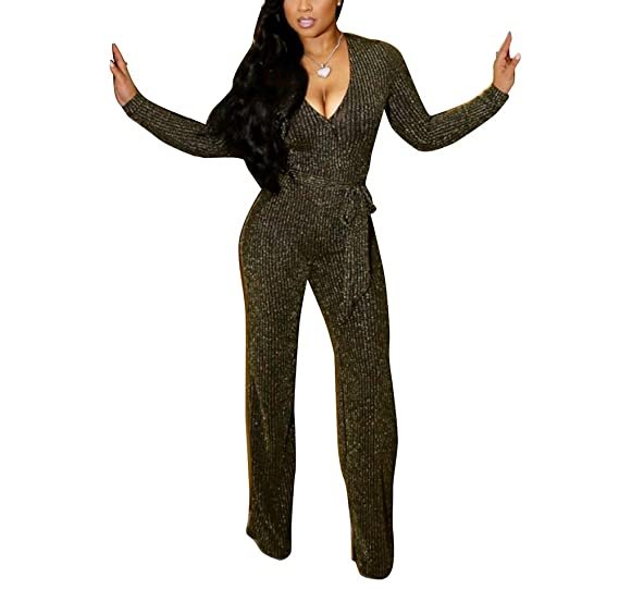 f986fcfc9f5 Ophestin Womens Sparkly Long Sleeve V Neck Jumpsuit Romper with Belt  Bodycon Clubwear Gold Size S