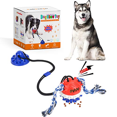 Dog Chew Suction Cup Toys,Dog Rope Ball Interactive Tug of War Toy,Pet Aggressive Chewers Molar Bite Squeaky Ball Puzzle…