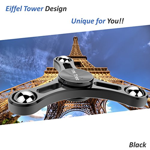 Fidget Tri-Spinner Toy Novelty Spinning Top Pressure Relief Gadget Newest Design Balance System Min 2 mins Spinning – by TiMi Tree (Black)