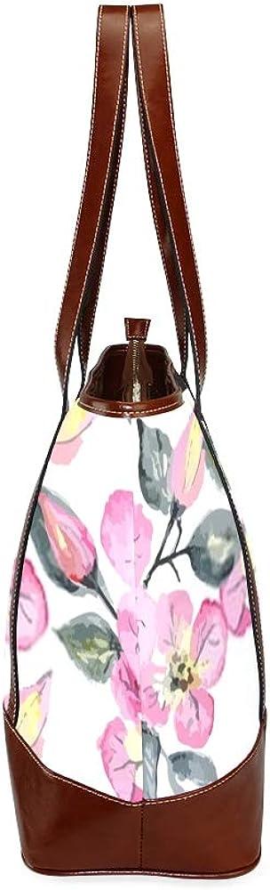 Tote Bags Vector Watercolor Seamless Bright Blossom Pattern Travel Totes Bag Fashion Handbags Shopping Zippered Tote For Women Waterproof Handbag