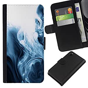 All Phone Most Case / Oferta Especial Cáscara Funda de cuero Monedero Cubierta de proteccion Caso / Wallet Case for Sony Xperia Z3 D6603 // Fog Black White Mesmerizing Fluid