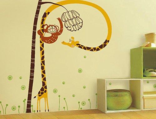 Pop Decors PT-0120-Vb Beautiful Wall Decal Cute Monkey Catches Banana