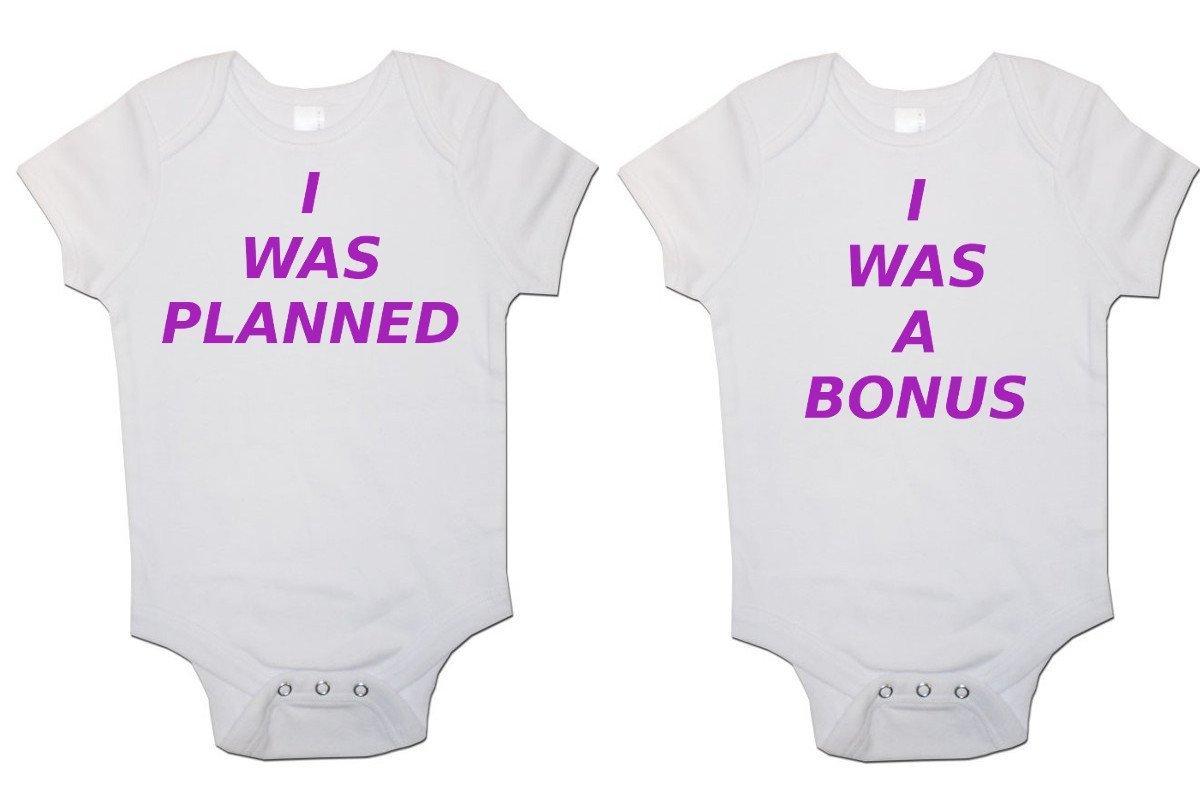 Baby-Body mit AufschriftI Was Planned I Was A Bonus f/ür 0-3 Monate Violett