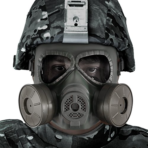 [Bienna Airsoft Tactical Paintball Protective Full Face Eye Protection Skull Dummy Toxic Gas Mask With 2 Filter Fans and Adjustable Strap for BB Gun CS Cosplay Costume Halloween Masquerade-Army Green] (Gas Mask Costume Accessory)