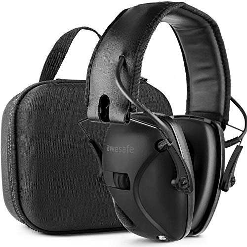 Ear Protection for Shooting Range,Electronic Hearing Protection for Impact Sport,Safety Ear Muffs, NRR 22, Ideal for Shooters and Hunting [with Travel Storage Carrying Case Bag] (Classic Black) (Target Practice Ear Protection)