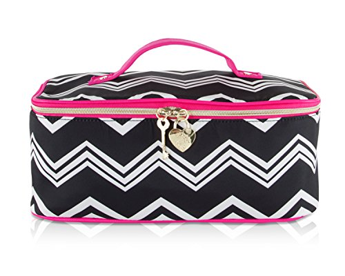 Betsey Johnson Nylon Chevron Train Top Handle Travel Toiletr