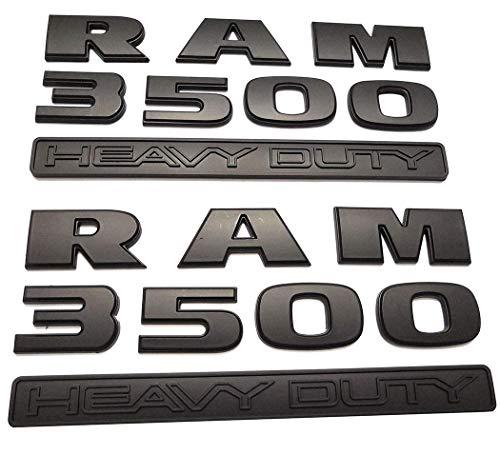 Aizfa 2pcs RAM 3500 Heavy Duty emblems Badge 3D Emblems Decals stickers Nameplates Replacement for Dodge Ram flat Letter (Matte Black )