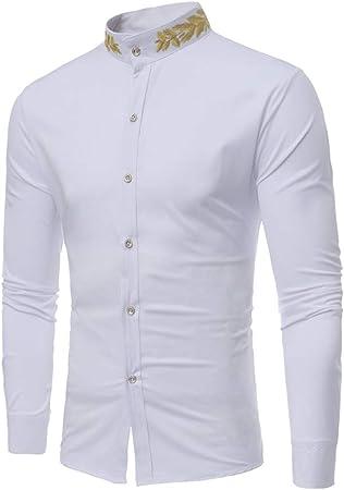 Camisa de los hombres Camisa casual de manga larga con cuello redondo bordado de oreja de