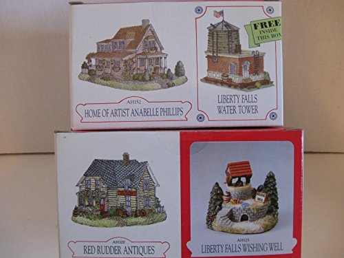 """Bundle of four """"Liberty Falls"""" Collection including: Liberty Falls Wishing Well; Red Rudder Antiques; Liberty Falls Water Tower; Home of Artist Annabelle Phillips"""
