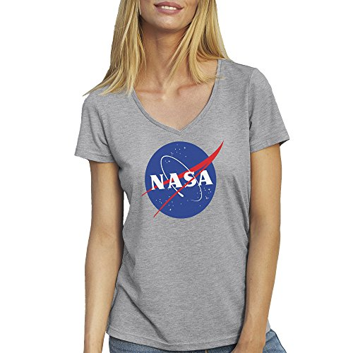 NASA Space Astronaut Logo Retro Scientist Meatball Geek Big Bang Theory Gift Grey T-Shirt V Neck for Ladies X Large