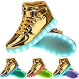 TUTUYU Kids&Adult 11 Colors LED Light Up Shoes High Top Fashion Flashing Sneakers Golden 39