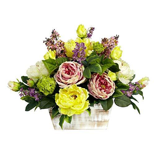 MARJON Flowers Mixed Floral with White Wash Planter Silk Flower Arrangement, Assorted