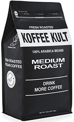 Koffee Kult - Medium Roast Coffee Beans (2 lb Whole Bean) Highest Quality Delicious Coffee - Fresh Gourmet Aromatic Artisan Blend - Packaging May Vary