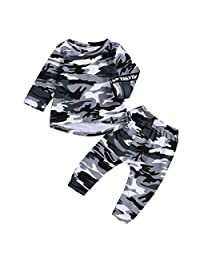5T Kid Boy Girl Camoflage Long Sleeve Shirt Pants Clothing Suit Autumn Tracksuit (Color : Camo, Size : 2-3T)