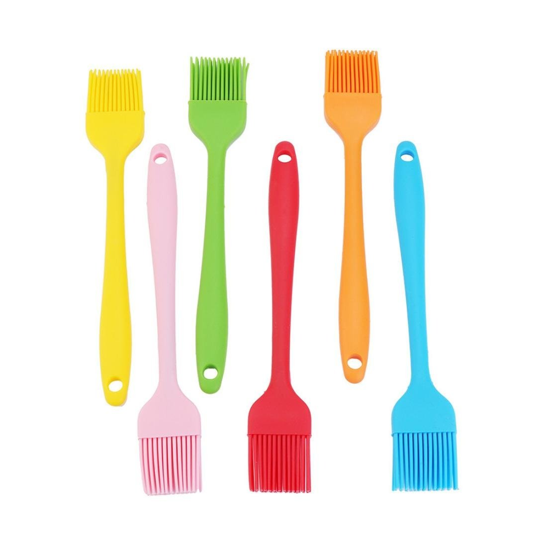 Feccile 6Pcs Kitchen Silicone Brush Bread BBQ Baking DIY Cooking Gadget