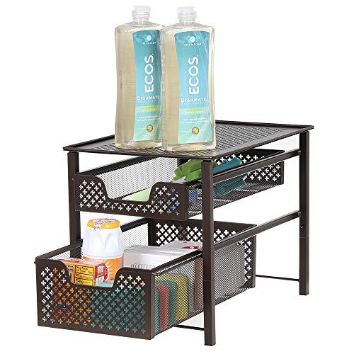 NEX 2-Tier Sliding Cabinet Basket Organizer Drawer Stackable for Bathroom Kitchen, 16.7''L x 10.9'' W x 12'' H, ()