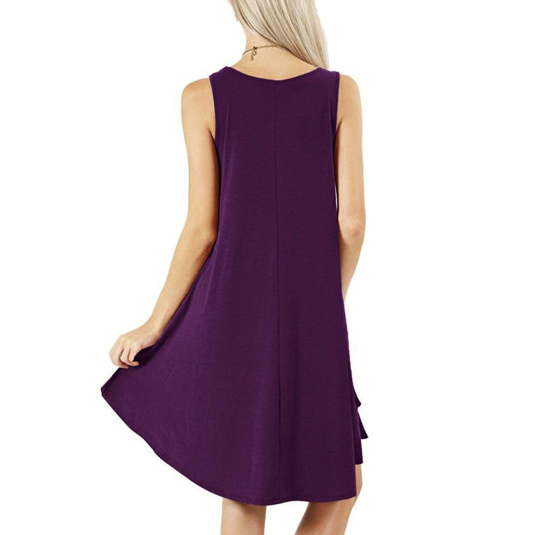 Womens Plain SWING VEST Sleeveless CAMI Top Strappy Flared Lilac Colour