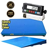 "PrimeScales Heavy Duty 60""x60"" Industrial Floor Scale PS-10000F+Ramp & Indicator – Accurate Digital Pallet & Warehouse Scales, Built-In Smart Data Function &Calibration Certification"