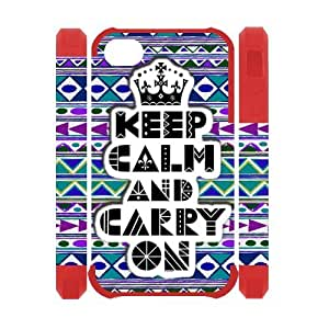Generic Keep Calm and Carry On Design Case Custom Dual-Protective 3D Polymer four Color Black Red DoderBlue Coral Case Cover for iPhone4 iPhne4S