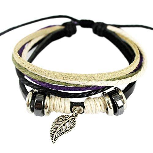 Wild Wind (TM) Christmas Fantastic Leaf Multi-strand Braided Rope Adjustable Leather Bracelet (Homemade Sailor Costume)