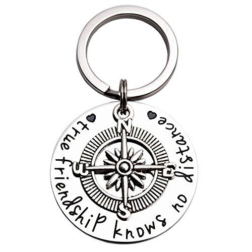 LParkin Best Friend Keychain Long Distance Relationship Gifts True Friendship Knows No Distance Compass Keychain (Keychain)