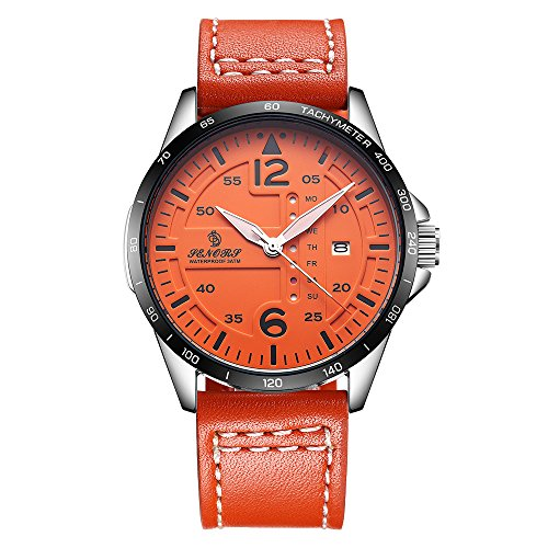 - Casual Men Wrist Watch Waterproof, SENORS Big Face Wristwatch Leather Strap Clock, Date and Day, Orange