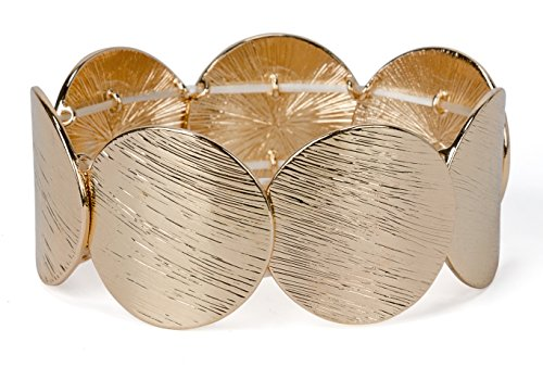 SPUNKYsoul New! Disc Stretch Bracelet in Gold, Silver and Rose Gold for Women Collection (Large Gold)