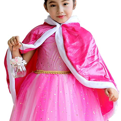 loel Girl's Cape Aurora Princess Hooded Cape Pink Cloak Costume (Large/Recommend Height 55.0