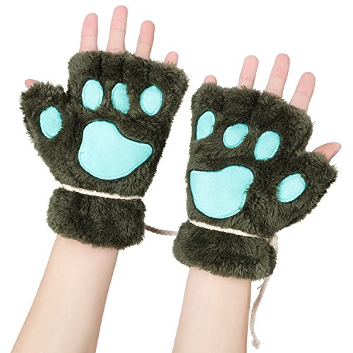 Odema Womens Bear Plush Cat Paw Claw Glove Soft Winter Fingerless Mitten Gloves]()