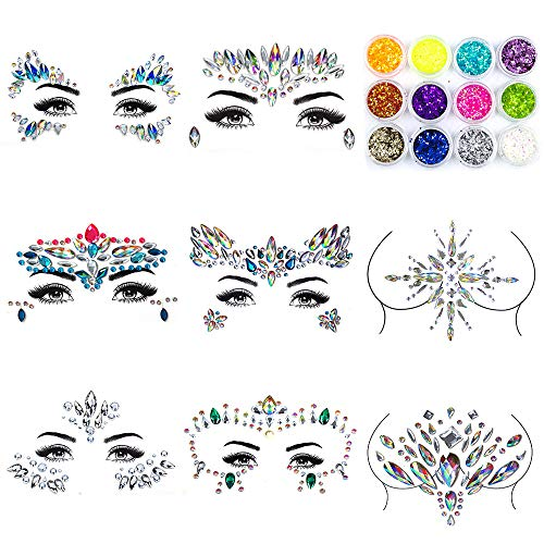 Bergwin Face Gems Glitter - 8 Sets Rhinestone Mermaid Face Jewels Breast Body Jewelry Rhinestone Tattoo Crystal Glitter Stickers with 12 Boxes Chunky Face Glitter, Temporary Tattoo Sticker for Festival Party]()