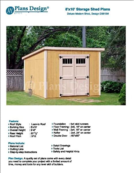 Modern Roof Style 8 X 10 Deluxe Shed Plans Design D0810m Material List And Step By Step Included Woodworking Project Plans Amazon Com