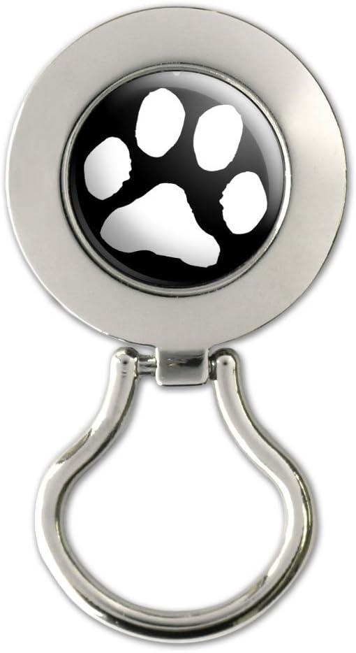 Paw Print White On Black Magnetic Metal Eyeglass Badge Holder