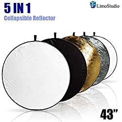 "LimoStudio 43"" Photography Photo Video Studio Lighting Disc Reflector, 5-in-1, 5 Colors, Black, White, Gold, Silver, Translucent, AGG808"