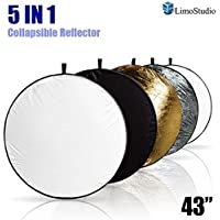 LimoStudio 43 Photography Photo Video Studio Lighting Disc Reflector, 5-in-1, 5 Colors, Black, White, Gold, Silver, Translucent, AGG808