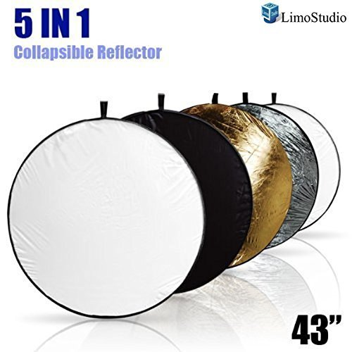 "LimoStudio 43"" Photography Photo Video Studio Lighting Disc Reflector, 5-in-1, 5 Colors, Black, White, Gold, Silver, Translucent, AGG808 from LimoStudio"