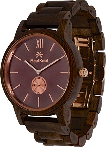 Wooden Watch for Men Maui Kool Kaanapali Collection Analog Large Face Wood Watch Bamboo Gift Box (C3 - Coffee Face)