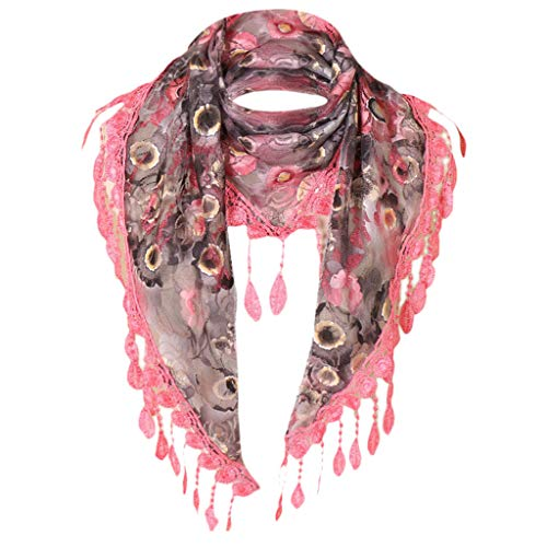 Bolayu Fashion Lace Tassel Rose Floral Hollow Scarf Shawl Wraps Scarves for Women