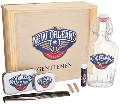 NBA New Orleans Pelicans Gentlemen's Gift Box Toiletry Edition 1- 250 ML Glass Swing-Top Bottle, 2 - Brass Collar Stays, 1- Tissue Pack, 1- Comb, Tan, 10