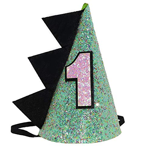 Maticr Glitter Dinosaur 1st Birthday Cone Hat Baby Boy Dinosaur Dragon Party Hat for Cake Smash First Birthday Party Supplies (Glitter Green) ()