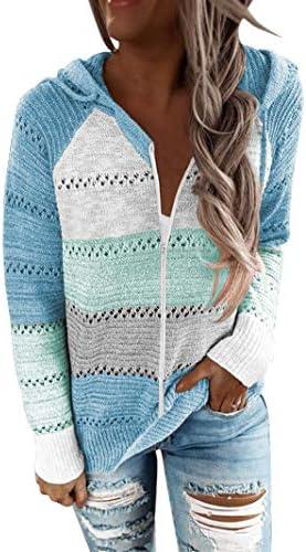 BTFBM Women Zip Up Striped Hoodies Jackets Color Block Print Long Sleeve Drawstring Stretchy Casual Pullover Sweatshirts