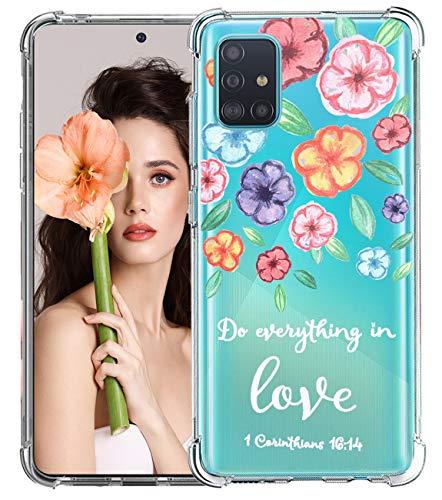 ESRB Beschermhoes voor Samsung Galaxy A51, zacht TPU-silicone beschermhoes, doorzichtige telefoonhoes met bloemenmotief…