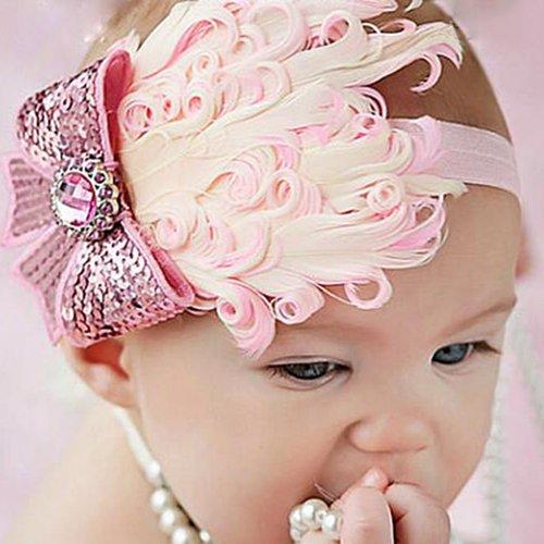 Baby Kinder Stirnband Feder Haarband Mädchen Haarschmuck (008)