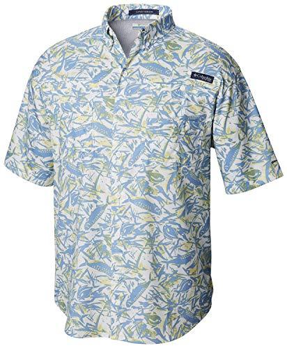 Columbia Men's PFG Super Tamiami Short Sleeve Shirt ,White Cap Tarpons N Permits Print,XX-Large ()