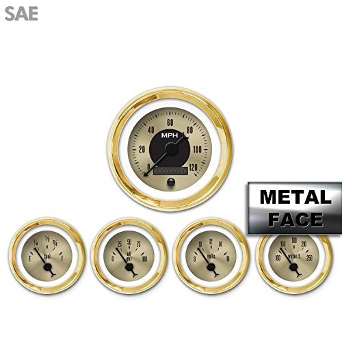Aurora Instruments 2556 American Classic Assembled 5-Gauge Set Gold Face, Black Classic Needles, Gold Bezels