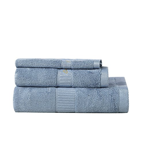 - Cotton World Li 3 Piece, Premium Luxurious 700 GSM Set 100% Natural Bamboo Fiber for Maximum Softness and Absorbency, 1 Bath Sheet 1 Hand Towel 1 Washcloth, 3 Pack Azure
