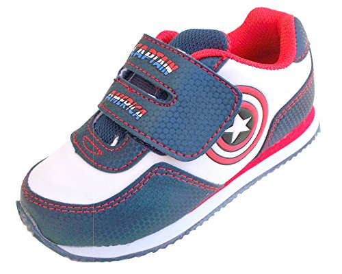 Captain America Shoes (Marvel Captain America Boys Athletic Shoe White/Navy/Red (Infant/Todler, Size 8))